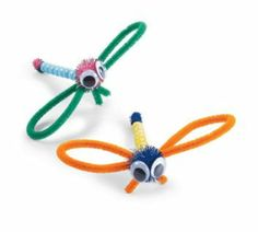 Dragonflies made from chenille stems and googly eyes - adorable!