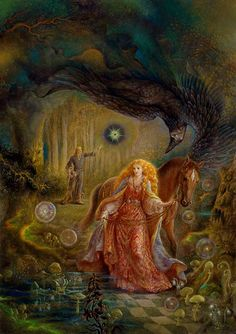 feeling like i'm looking to APOLLO ♥ AURORA : The sun god Apollo and Aurora, goddess of the dawn, in this case appear to have been given the features of a young couple, perhaps at the time of their marriage. ::: Original, Artist : Kinuko Y. Craft