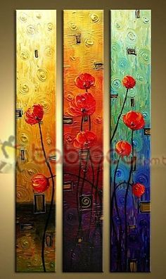 Decorative-Flower-Three-Panel tall canvas yellow red and blue Block Painting, Daisy Painting, Texture Art, Texture Painting, Frames For Canvas Paintings, Plaster Crafts, Abstract Flower Art, Acrylic Pouring Art, Wall Art Pictures