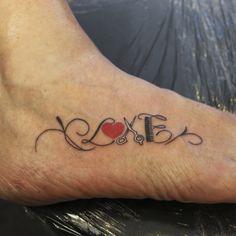 Love Script Lettering Tattoo for a Hair Dresser
