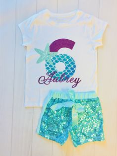 birthday outfit This shirt is perfect for any mermaid themed Birthday. Made with our beautiful no shed glitter its sure to be a hit! We offer design color changes upon request. 6th Birthday Girls, Mermaid Birthday Outfit, Mermaid Outfit, Little Mermaid Birthday, Mermaid Shirt, Little Mermaid Parties, Birthday Party Outfits, Birthday Shirts, Birthday Ideas