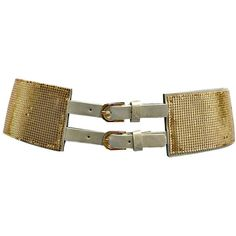 Gold Metal Mesh Retro Cinch Belt With Double Buckle ($13) ❤ liked on Polyvore featuring accessories, belts, corset, gold, thick belt, cinch belt, wide belt, thick gold metal belt and adjustable belt