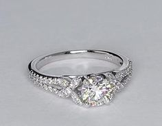 Love it! Papillon Pavé Diamond Engagement Ring in 14k White Gold