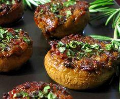 Basil, Bacon, and Bacon Caramelized Onion Stuffed Mushrooms