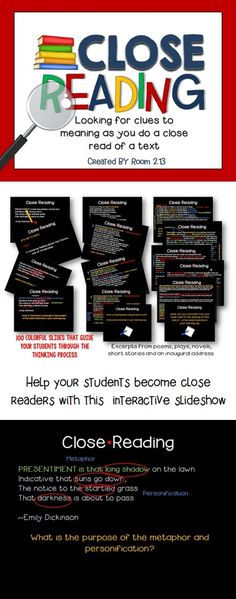 Close reading is an important skill for success in high school English. Teach your students the art of close reading as you guide them through the process with this interactive slideshow. Use gradual release of responsibility as you help them build the skills needed to understand author technique and purpose. #Closereading
