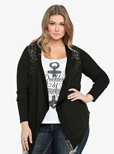 Studded Open-Front Cardigan | Torrid