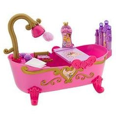Disney Baby Princess Bath Tub for Dolls by Disney. $59.99. Once upon a time a Disney Princess was born and, to celebrate, the three good fairies blessed her with a royal bath tub like no other in the land. Your Baby Princess Doll will find her Baby Princess Bath Tub a royal treat. Plastic.. Baby Princesses Aurora, Cinderella and Belle screen art Includes tub tray, soap dish, shampoo, soap, loofah and rug Baby Princess Dolls not included Tub: 11'' H x 14'' W x 6'' D ...