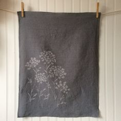 Gray Hand Dyed Tea Towel - Organic Linen Kitchen Towel -  Queen Anne's Lace Design -Screen Printed Dish Towel