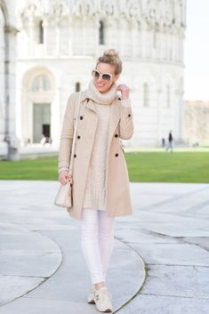 Tower of Pisa: Ann Taylor classic khaki trench, beige turtleneck sweater, AG Jeans white denim, Brahmin 'Mini Duxbury' bag, gold and white New Balance sneakers, neutral outfit with trench coat, beige and tan outfit