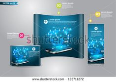 Modern communication technology with mobile phone and high tech background, With trade exhibition stand booth display roll up banner and counter, Vector illustration modern template design - stock vector