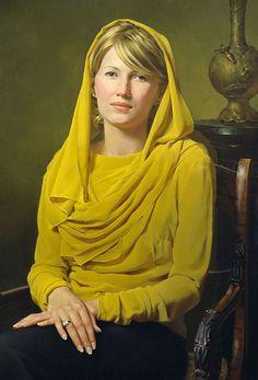 """19"" - Nikolai Shurygin, oil on canvas, 2014 {realism art beautiful blonde female seated woman portrait painting} nikolaishurygin.deviantart.com"