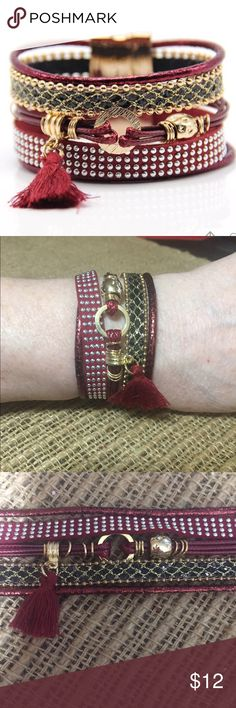 "BoHo Dark Red Bracelet Bohemian multi layer leather and rhinestone bracelet with Brazilian tassel.  Fits up to 8"" wrist comfortably. Magnetic closure.  Jewelry Bracelets"