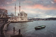 Snowfall and Ortaköy Mosque. A winter cityscape from Istanbul. Let It Snow, Let It Be, Bosphorus Bridge, South Tyrol, Northern Italy, Istanbul Turkey, Winter Theme, Fishing Boats, Mosque