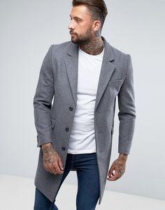 Asos Wool Mix Overcoat In Light Gray