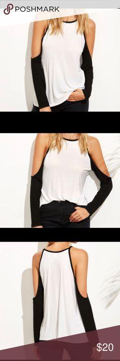 White Contrast Raglen Sleeve Cold Shoulder T-Shirt White Contrast Raglan Sleeve Cold Shoulder T Shirt Tops Tees - Long Sleeve