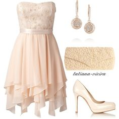 """Fairy #Bridesmaids  #Dress with irregular skirt and pale colours. """"087"""" by tatiana-vieira on Polyvore. Adorable.love hankerchief hem"""