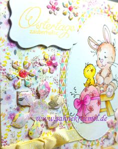 """Easter Card with """"Easter Bunny"""" Whimsy Stamps; Sentiment Iris-istible; Designerpaper """"Paper Flower"""" First Edition; Flower die Nellie Snellen; Ovale Dies """"XXL Ovals"""" Crealies; Stickles; Ribbon American Crafts; Colored with TwinklingsH2O"""