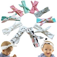 baby headband | JLIKA Baby Girl Headbands Cotton Knotted Headband Headwrap Modern Turban Fashion Head Band Wrap Rabbit Ear Bows for newborns infants toddlers - 10 Pack (Modern Designs Collection)