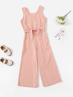 SHEIN offers Girls Solid Sleeveless Wide Leg Jumpsuit & more to fit your fashionable needs. Stylish Dresses For Girls, Dresses Kids Girl, Kids Outfits Girls, Cute Girl Outfits, Cute Outfits For Kids, Teenager Outfits, Pretty Outfits, Casual Outfits, Girls Fashion Clothes