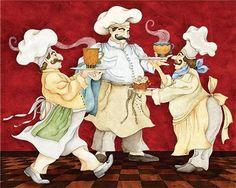quenalbertini: Chef reunion by Joy Hall Chefs, Decoupage Vintage, Decoupage Paper, Chef Pictures, Courtney Davis, Chef Kitchen Decor, Kitchen Mat, New Paint Colors, Kitchen Artwork