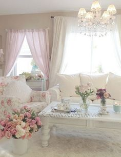 Romantic Shabby Chic Pink Living Room.