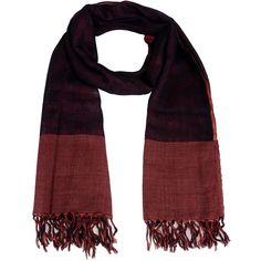 Auteurs Du Monde Stole featuring polyvore, women's fashion, accessories, scarves, maroon, patterned scarves, lightweight scarves, gauze scarves, print scarves and fringe scarves