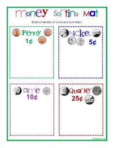 Have students grab a handful of coins and sort them on this mat. It has pictures of new and old coins with heads and tails