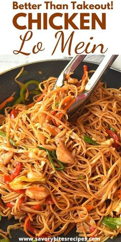 Better than takeout Chicken Lo Mein recipewhich you are going to love as its easydelicious and totally under 30 mins with veggieslo mein saucechicken and egg noodles makes the this lo mein recipe better than any Chinese takeout dish! Easy Chinese Recipes, Asian Recipes, Asian Egg Noodle Recipes, Homemade Chinese Food, Poulet Lo Mein, Chicken And Egg Noodles, Singapore Noodles Chicken, Vegetable Noodles, Chicken Stir Fry
