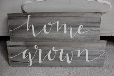 reclaimed barn wood sign: home grown home by bluebellesdesign