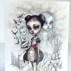 A Girl and Her Ghosts  signed 4 x 5.75 Mini Art Print by mabgraves