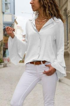 Fashion Plain Short Sleeve Blouse For Women Blouse For Women Casual Blouse For Women Work Short Sleeve Blouse, Long Sleeve Shirts, Look Fashion, Autumn Fashion, Luxury Fashion, Fashion Outfits, Outfits Con Camisa, Style Personnel, Blouse Styles