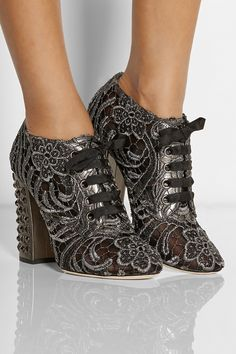 metallic intricate macrame lace boots - gorgeous