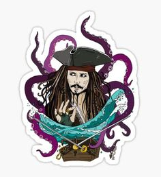 Pirates Of The Caribbean stickers featuring millions of original designs created by independent artists. Cameo Vs Cricut, Captain Jack Sparrow, Cute Pins, Pirates Of The Caribbean, Johnny Depp, Cute Stickers, Planner Stickers, Chibi, Cartoon