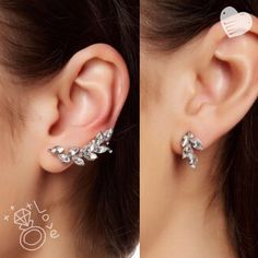 Crystal Stud & Crawler Cuff Crystal stud and crystal crawler cuff earring set.  Nickel free. Lead free. If you have questions, don't hesitate to ask! P a y p a l. trades.  holds. T&J Designs Jewelry Earrings