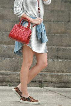 Mixing stripes and Leopard for a cute fall outfit on Peaches In A Pod blog. @verabradley.  Striped dress, leopard sneakers, red crossbody handbag.