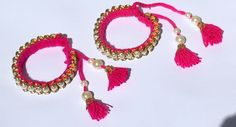 Indian Pearl Bangle Bracelets; Bright Pink Colour, Rajasthani Pair of Bangles by PureIndianArt on Etsy