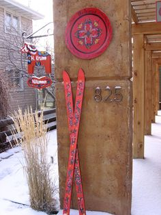 rosemaling skis sign plate