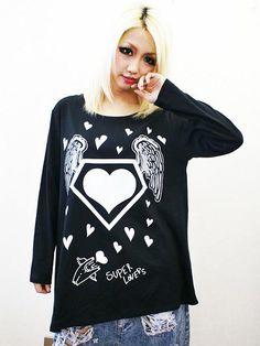 Wing Heart Asymmetric BIG Long Sleeve T-Shirt Black. See more at: http://www.cdjapan.co.jp/apparel/superlovers.html #harajuku #LISTEN FLAVOR