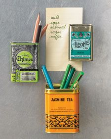 Add a magnet to the back of a small tin to create a pen holder for the fridge.