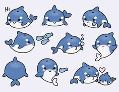 Premium Vector Clipart Kawaii Orcas Cute by LookLookPrettyPaper