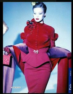 Mugler pink red suit peplum jacket skirt wrap velvet wool vintage fashion does style designer 1950s Fashion Women, Red Fashion, Couture Fashion, Fashion Art, Runway Fashion, High Fashion, Fashion Beauty, Fashion Show, Vintage Fashion