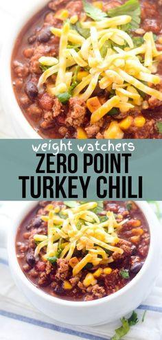 Weight Watchers Zero Point Turkey Chili - perfect on a rainy cold day! Cheese is. - Weight Watchers Zero Point Turkey Chili – perfect on a rainy cold day! Cheese is extra. Weight Watchers Chili, Weight Watchers Snacks, Weight Watcher Dinners, Plats Weight Watchers, Weight Watchers Meal Plans, Weight Watchers Chicken, Weight Watchers Breakfast, Weight Watchers Smart Points, Dinner Ideas