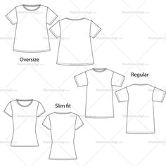Woman's T-shirts, Regular, Oversize And Slim Fit Fashion Flat Template