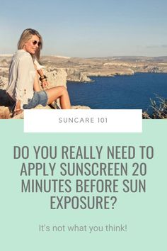 Have you ever wondered why you're always told to apply sunscreen 15/20 minutes BEFORE sun exposure? Does it matter? Yep. There's a scientific reason why you need to put it on 20 minutes earlier… and it has NOTHING to do with sunscreen activation. Click pin to find out why... #suncare101 #sunprotection #sunscreen Acne Prone Skin, Oily Skin, Sensitive Skin, How To Get Rid Of Acne, How To Find Out, Best Sunscreens, Prevent Wrinkles, How To Apply Makeup, Combination Skin