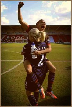 Steph Houghton & Alex Scott of Arsenal Ladies after winning the FA Women's Cup Final 2013.