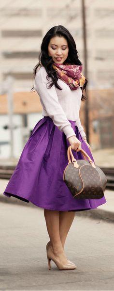 Spring Colors :: Purple Full Midi Skirt / Cute & Little