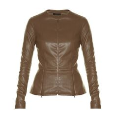 The Row Anasta collarless leather jacket ($2,890) ❤ liked on Polyvore featuring outerwear, jackets, khaki, zipper leather jacket, khaki leather jacket, tailor leather jacket, leather jackets and tailored jacket