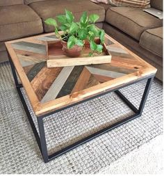 West Elm-Inspired Coffee Table DIY Coffee Table Ideas For The Budget-Conscious Decorator Coffee Table Design, Unique Coffee Table, Rustic Coffee Tables, Diy Coffee Table, Decorating Coffee Tables, Creative Coffee, Homemade Coffee Tables, Reclaimed Wood Coffee Table, Diy Holz