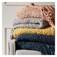"""West Elm Solid Basketweave Throw, 50""""x60, Rosette ($79) ❤ liked on Polyvore featuring home, bed & bath, bedding, blankets, textured throw, west elm throw blanket, hand knitted blanket, hand knit blanket and west elm blanket"""