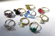 Recycled guitar string rings with gemstones and crystal beads